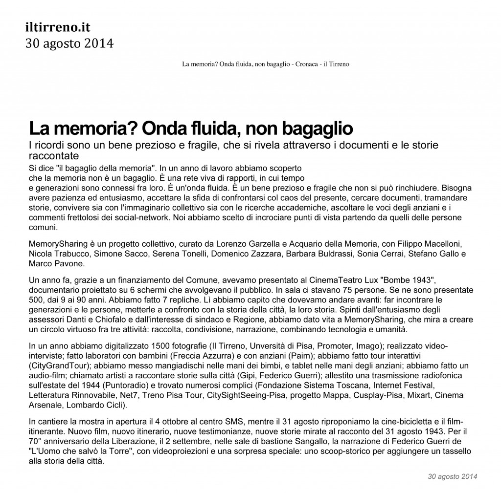 Il Tirreno.it 2 30 agosto 2014
