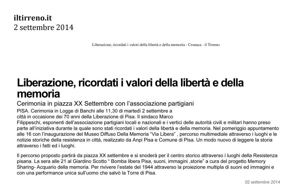 Il Tirreno.it 2 settembre 2014