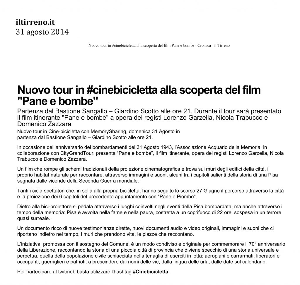 Il Tirreno.it 31 agosto 2014