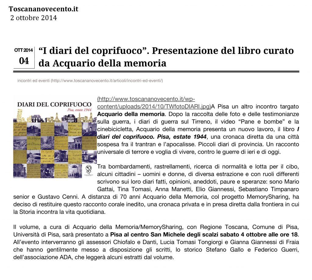 Toscananovecento.it 2 ottobre 2014